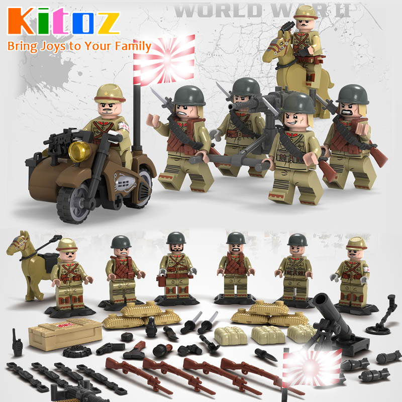 US $1 99 25% OFF|Kitoz WW2 Sino Japanese War Japanese Army Mini Soldier  Doll Weapons TaiErZhuang Military Building Block Toy compatible with  lego-in