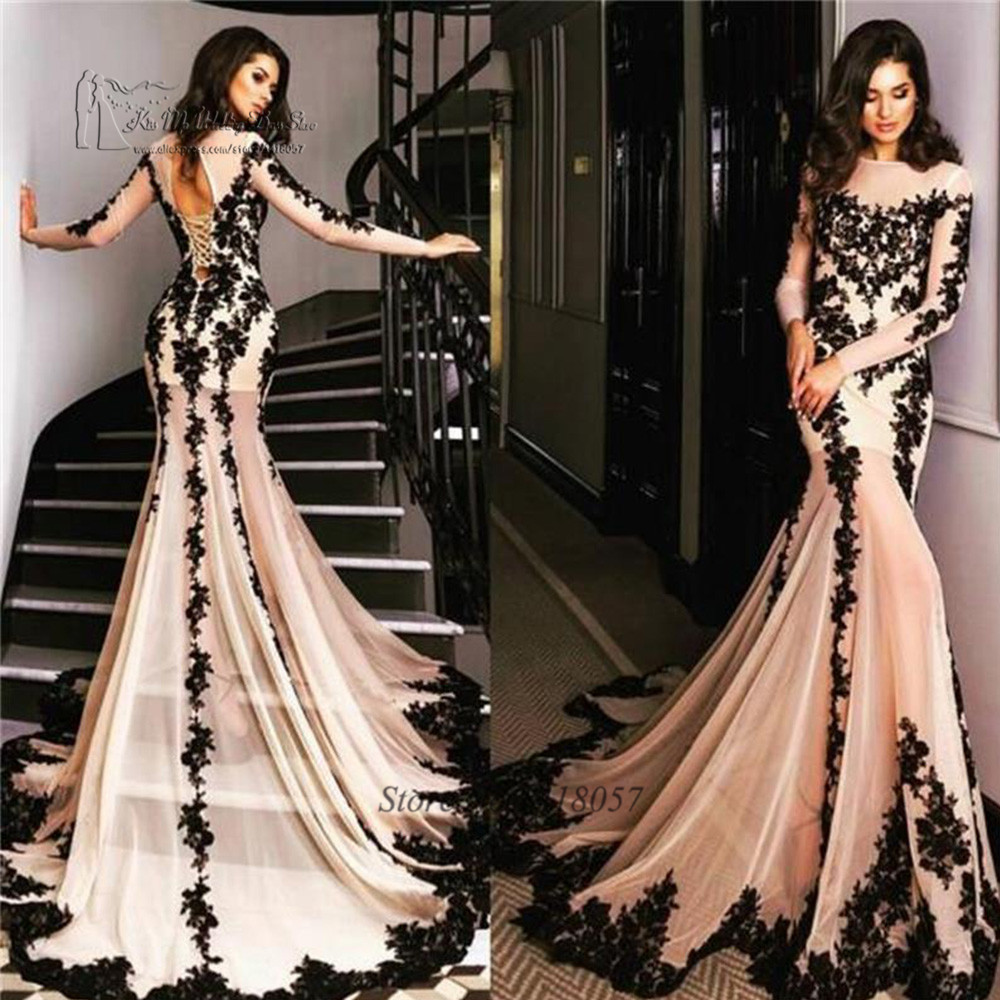 Sexy Long Sleeve   Evening     Dresses   See Through Champagne Black Lace Prom   Dress   2017 Corset Back Mermaid   Evening   Party Gowns Baile