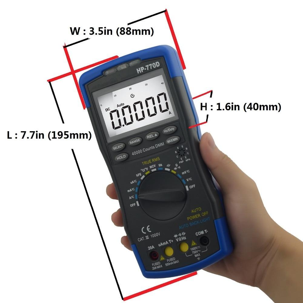 Hot Sale Original Handheld High Precision Accuracy Multimetro Digital Multimeter Auto Range True Rms Hp-770d Temperature Meter aimo m320 pocket meter auto range handheld digital multimeter