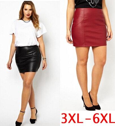 Aliexpress.com : Buy short pu leather skirts plus size 5XL 6XL ...