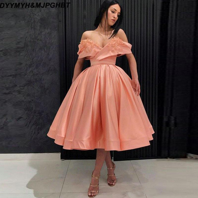 2019 Tea Length Short Prom Dresses With Lace Appliques Off the Shoulder Graduation Party Gowns Cocktail Party Dresses