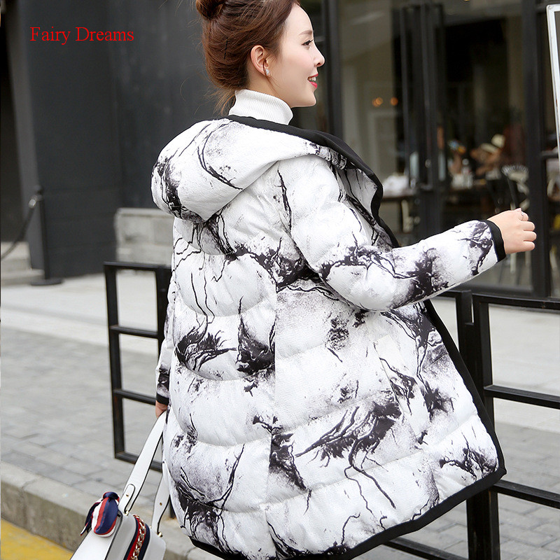 Fairy Dreams Women Winter Jacket Ink Print White Black Thickening Warm Coat Made Of Goose Feather Down Parka Two Size Wear 2017 inc new white black women s large l feather print seamed shift dress $79 013