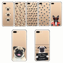 Cute Animal Pug Pattern Design Transparent Soft Silicon Phone Cases Cover  for IPhone 11 5S SE X 6 6S 7 8 Plus XR XSMAX