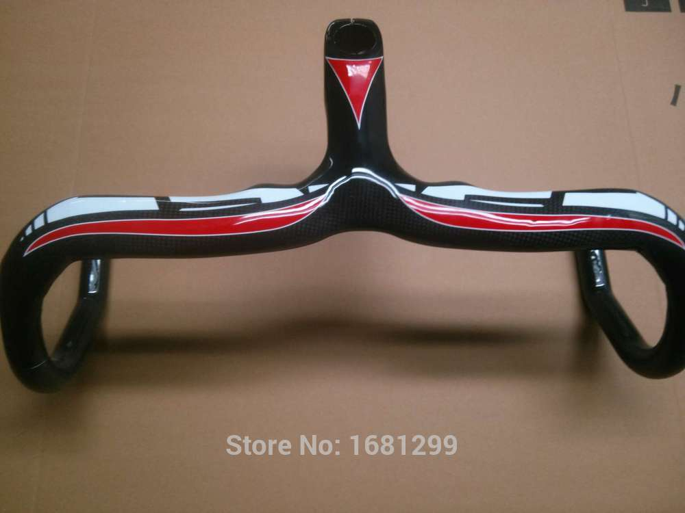 New Road bike 3K full carbon fibre bicycle handlebar and stem integrated 400/420/440*90/100/110/120mm red color Free shipping future brand from taiwan full carbon rest handlebar tt style handlebar one set 3k finish red color 31 8 400 420 440 460mm