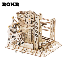 ROKR DIY Marble Run Game 3D Wooden Puzzle Gear Drive Lift Coaster Model Building Kit Toys for Children Adult LG503 rokr diy 3d wooden puzzle train model clockwork gear drive locomotive assembly model building kit toys for children adult lk701