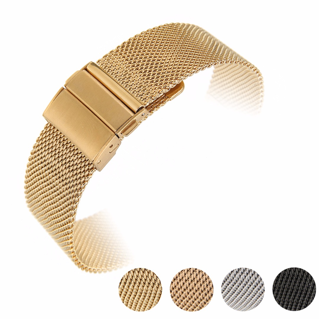 Stainless Steel Milanese Mesh Watch Band 16/18/20mm Width Folding Clasp Watch Strap Fashion Women Men Sport Watches Belt forsining golden stainless steel sport watch steampunk men watch luminous openwork mechanical watches folding clasp with safety