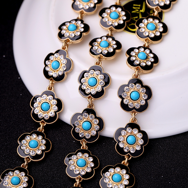 2017 Summer Multi Layer Enamel Alloy Crystal Flower Necklace Women Jewelry Accessories