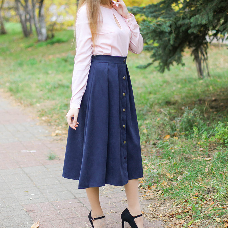 HDY Haoduoyi Pleated Skirts Button High Waist Elastic Mid Skirt Korean Style Women Skirts Fashion New 2018 Autumn Winter Bottom 6