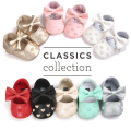 New Arrival Babe Ballet Dress Shoes Crib Girls Autumn Bowknot Single Shoes PU Leather Infant Shoes First Walkers