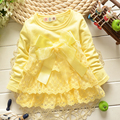 fashion Baby Lace Dress Girls dresses bow baby Princess Party dress Toddler Bow Kids casual Dress cute long sleeve infantis