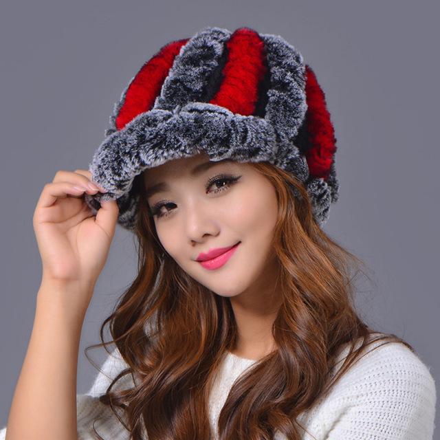 Venda 2016 inverno gorros chapéu de pele para as mulheres de malha rex chapéu de pele de Guaxinim tamanho livre das mulheres casuais chapéu Morno espessamento