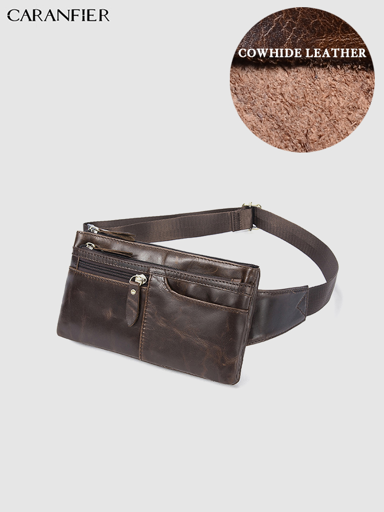CARANFIER Mens Bags Pack Genuine Cowhide Leather Business Solid Color Multi-functional Large Capacity Zipper Shoulder Bags