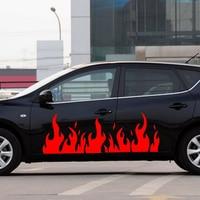 2x Car Motor Hot Fire Flames Door Decals Body Car Stickers Truck SUVS Vinyl Stickers 150*53cm