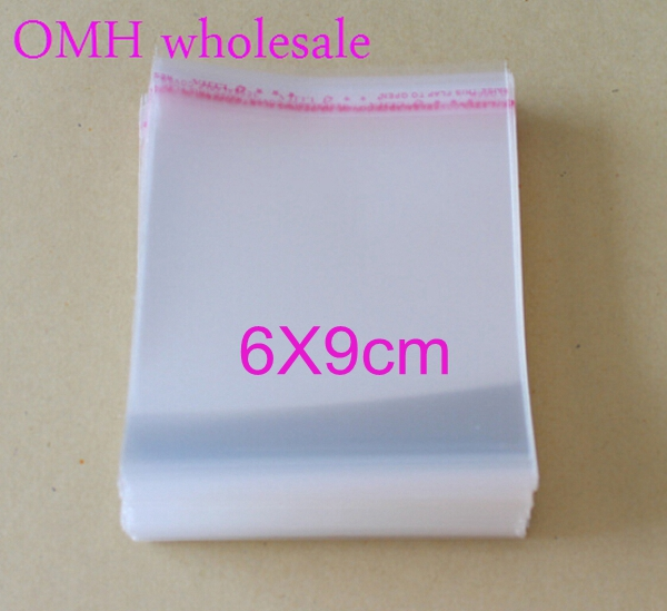 OMH Wholesale 200pcs 6x9cm OPP Stickers Self Adhesive Transparent Clear PP Plastic Bags For Jewelry Gift Packaging PJ369-2