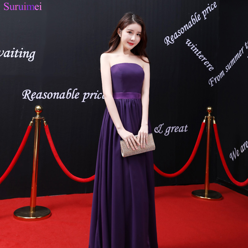 2018 New Arrival Purple Bridesmaid Dress Strapless Off The Shoulder Floor Length Chiffon High Silt Long Brides Maid Dress