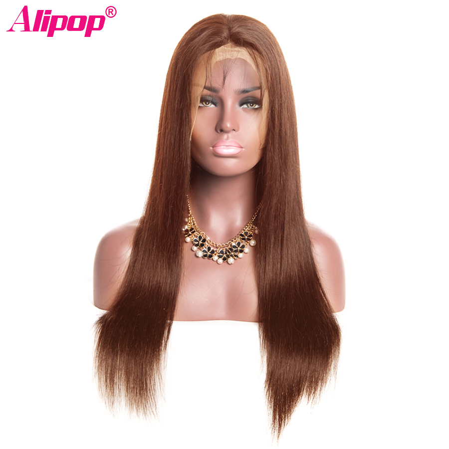 4 Light Brown Color 360 Lace Frontal Wig 250 Density Malaysia Straight 100 Human Hair