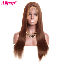 #4 Light Brown Color 360 Lace Frontal Wig 250 Density Malaysia Straight 100 Human Hair Wigs With Baby Hair ALIPOP Remy Hair cheap 360 Lace Frontal Wigs Long Darker Color Only Swiss Lace 1 Piece Only Half Machine Made Half Hand Tied Medium Brown Malaysia Hair