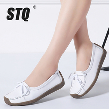 STQ 2020 Autumn Women Flat Shoes Women Genuine Leather Loafers Shoes Ladies Lace Up Ballet Flats Female Oxford Boat Shoes 6029