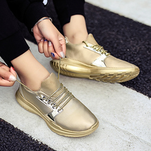 Women Sneakers Shoes Woman Casual Flats 2019 Spring Autumn Rosy Gold Bling Special Design Light EVA Fashion Running