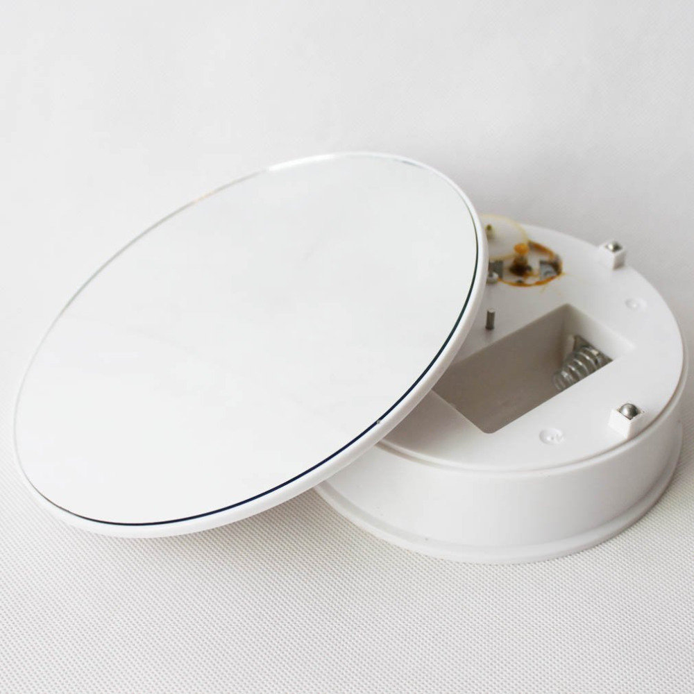 8 inches Mirror Top Battery / Adapter Power Rotating Rotary Display Stand Turntable - Include Ac Plug (Double Power)