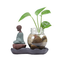 Tクリエイティブレディース家の装飾透明ガラス花瓶セラミック置物&ミニチュア手芸リビング茶ヨガルーム装