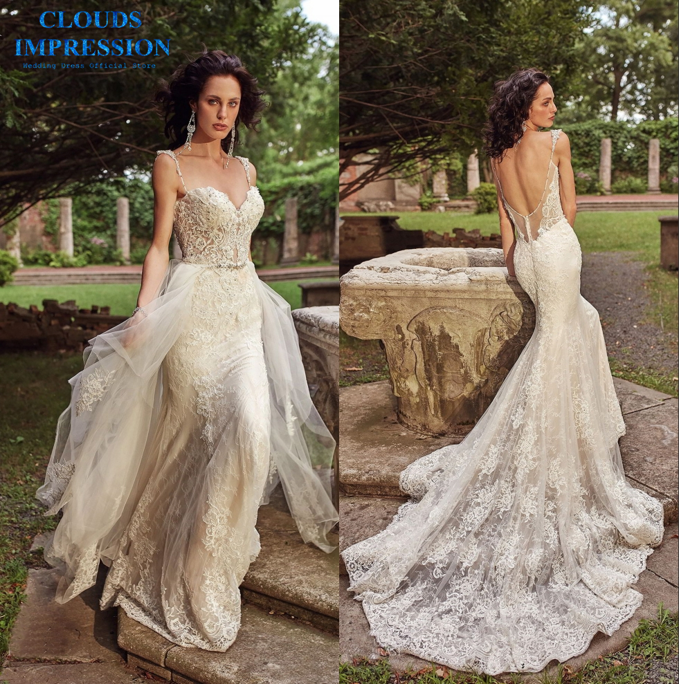 Detachable Cathedral Train Wedding Gown: CLOUDS IMPRESSION Luxury 2019 Mermaid Wedding Dress With
