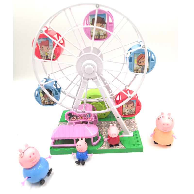 Children intellectual toys High quality PVC Ferris wheel Music box peppa pig toys Children's Christmas present