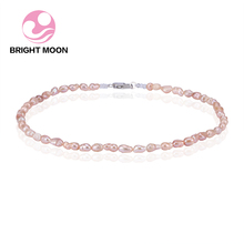 Bright Moon Classic Baroque 4-5mm Freshwater Pearl Necklace for women 925 sterling silver Clasp Choker for Wedding Gift With Bag