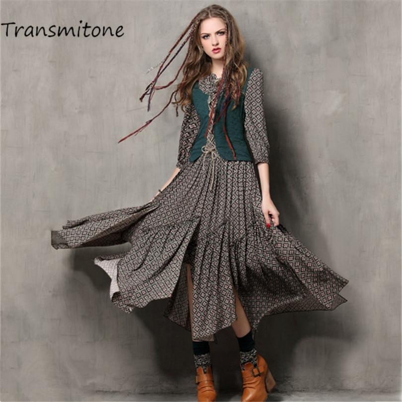 Платье с вышивкой женское, винтажная туника из 90% хлопка с рукавом три четверти