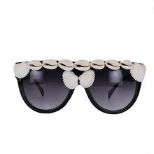 Fashion Designer Women Sunglasses Oversized Flat Top Square Frame Retro Gradient Lens With Seashell Decoration