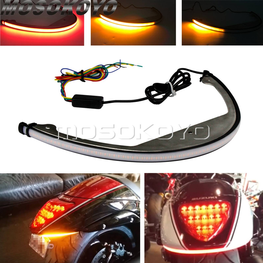 For Suzuki M109R M90 Switchback Flowing Sequential LED Fender Eliminator Taillight Turn Signal Light 2006-2018