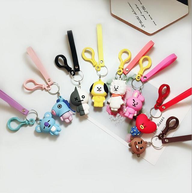 1pc KPOP BTS BT21 Cartoon Keychain Korean Fashion Key Holder Bag Pendant Accessories Acrylic Keyring Jewelry Gift for Bts Fans