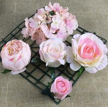 30 sztuk partia sztuczne główki kwiatowe jedwabne róże kwiat konstrukcja ściany tło kwiatowy DIY wedding party decoration fleur artificielle tanie tanio Jedwabiu Sztuczne Kwiaty Ślub Rose A000 Artknock Kwiat Głowy Rose Peony Hydrangea flower heads