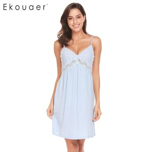 Image 4 - Ekouaer Women Sexy Nightgown Spaghetti Strap V Neck Sleeveless Lace Patchwork Backless Summer Sleepwear Female Home Clothing