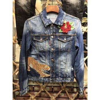 New Arrival Flowers leopard design Denim Jacket Men Fashion Casual Slim Single Breasted Men Jacket plus size 48-54