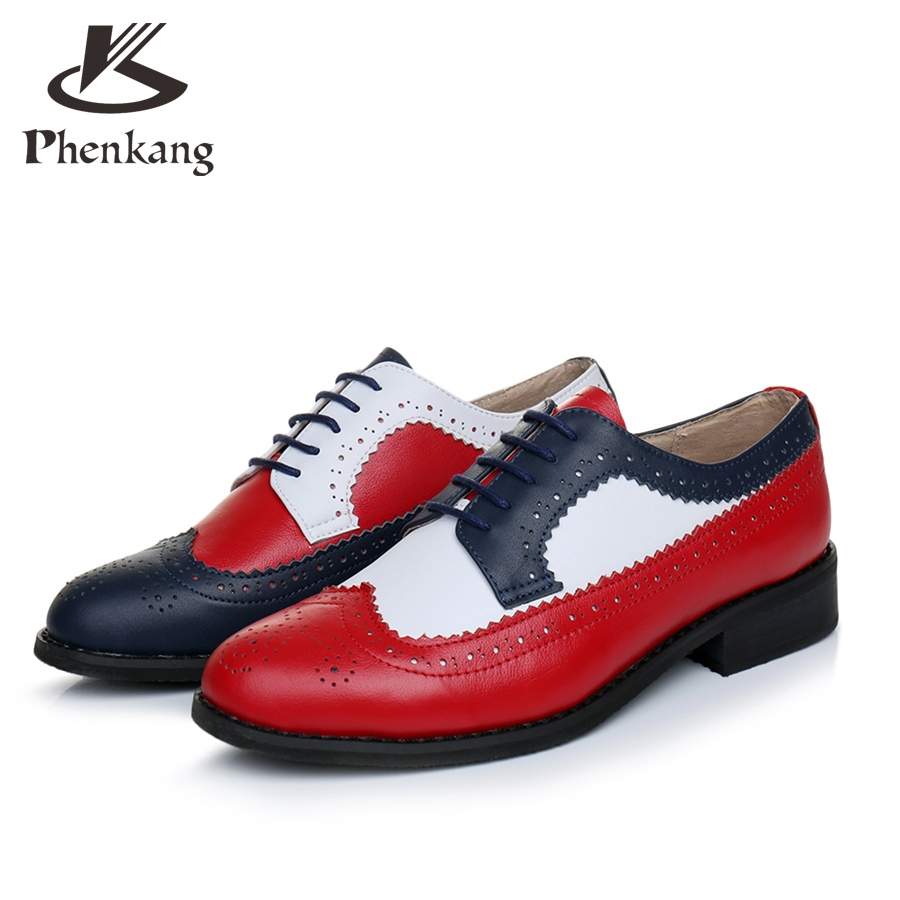 100% Genuine cow leather brogue men casual flats shoes handmade vintage casual sneakers oxford shoes for men red blue white vintage casual handmade 100