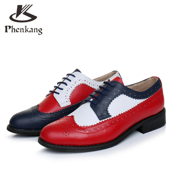 100% Genuine cow leather brogue men casual flats shoes handmade vintage casual sneakers oxford shoes for men red blue white