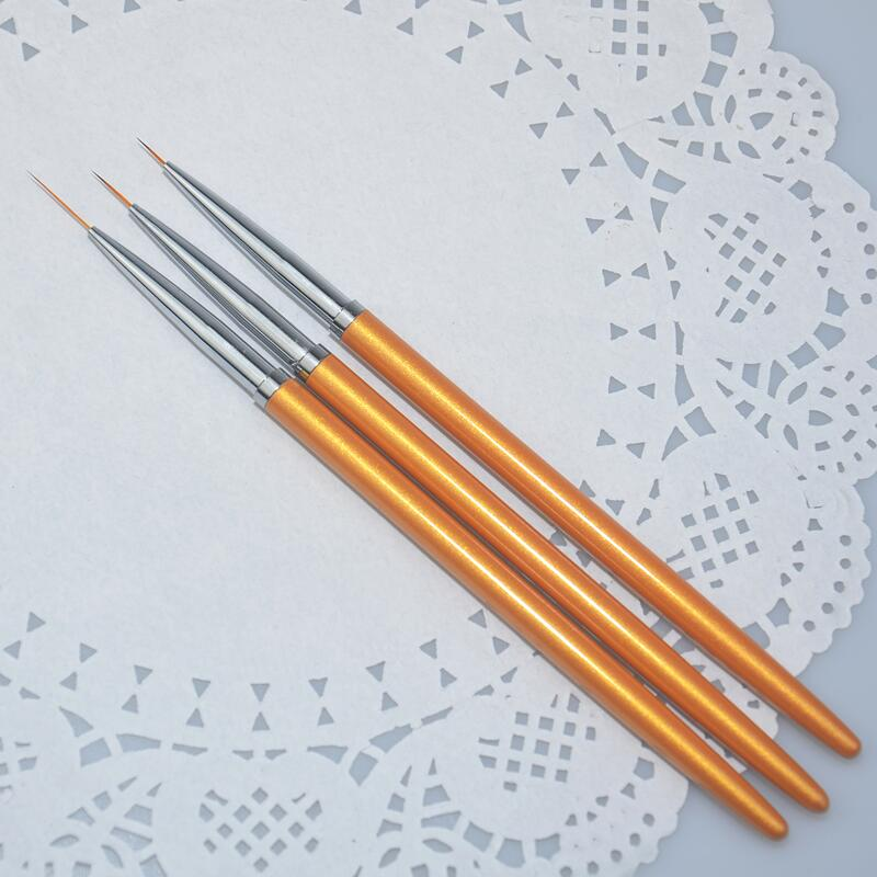 3Pcs/Set Nail Art Lines Painting Pen Brush Metal Gold Gel UV Polish Tips Flower 3D Design Manicure Pedicure Drawing DIY Tool Kit gold silver 3d nail decorations rivets metal multi studs rhinestone chain flower heart diy manicure nail art decoration