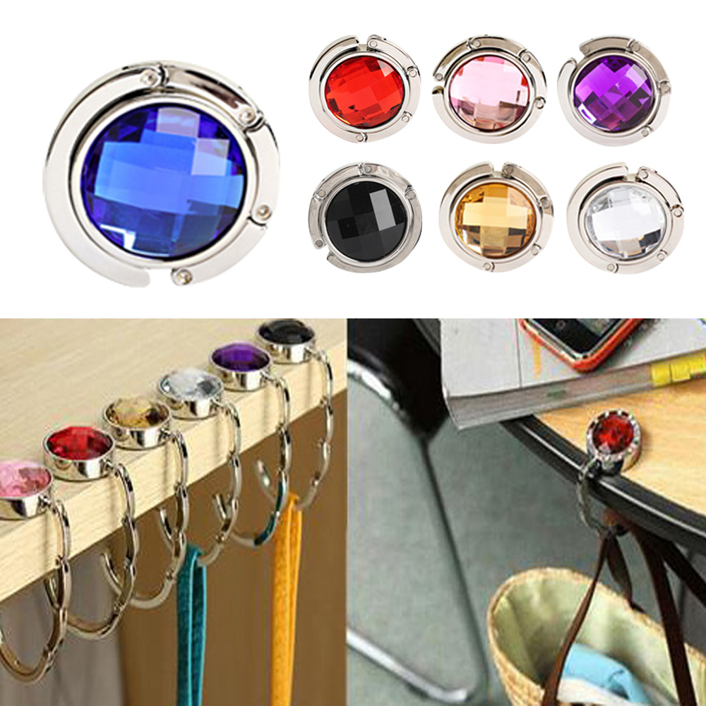 New 1 Piece Folded Handbag Bag Accessories Handy Little Hook Hanger Holder Alloy Fashion Crystal Rhinestone 7 Colors