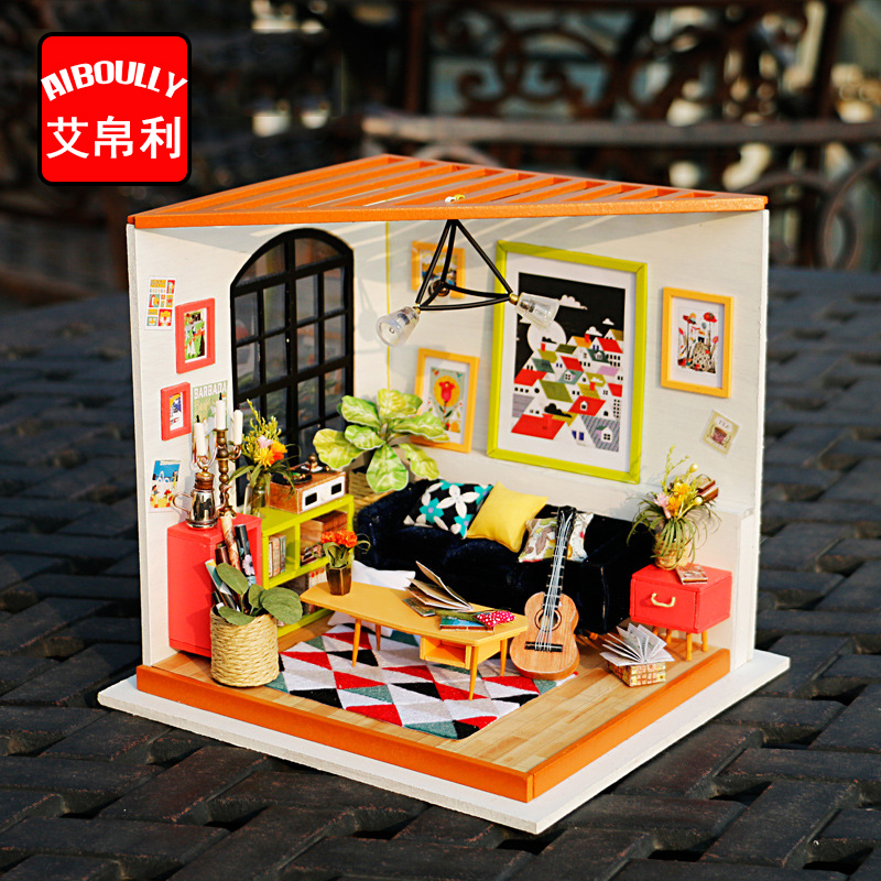 3D Puzzle DIY Handmade Furniture Miniature Sofa Sets Kawaii Sitting Room Living Room Doll Table toys kids girls