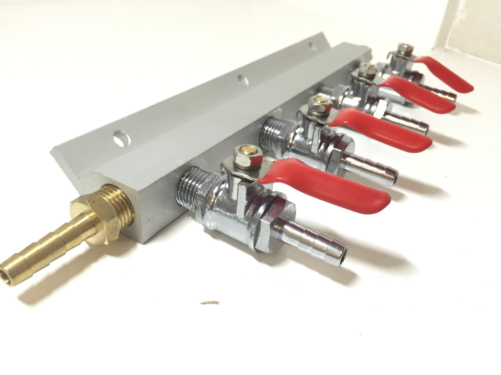 4 Way Gas Manifold Distribution CO2 Splitter W/ Check Valves Home Brew Kegerator 1/4 Barb4 Way Gas Manifold Distribution CO2 Splitter W/ Check Valves Home Brew Kegerator 1/4 Barb