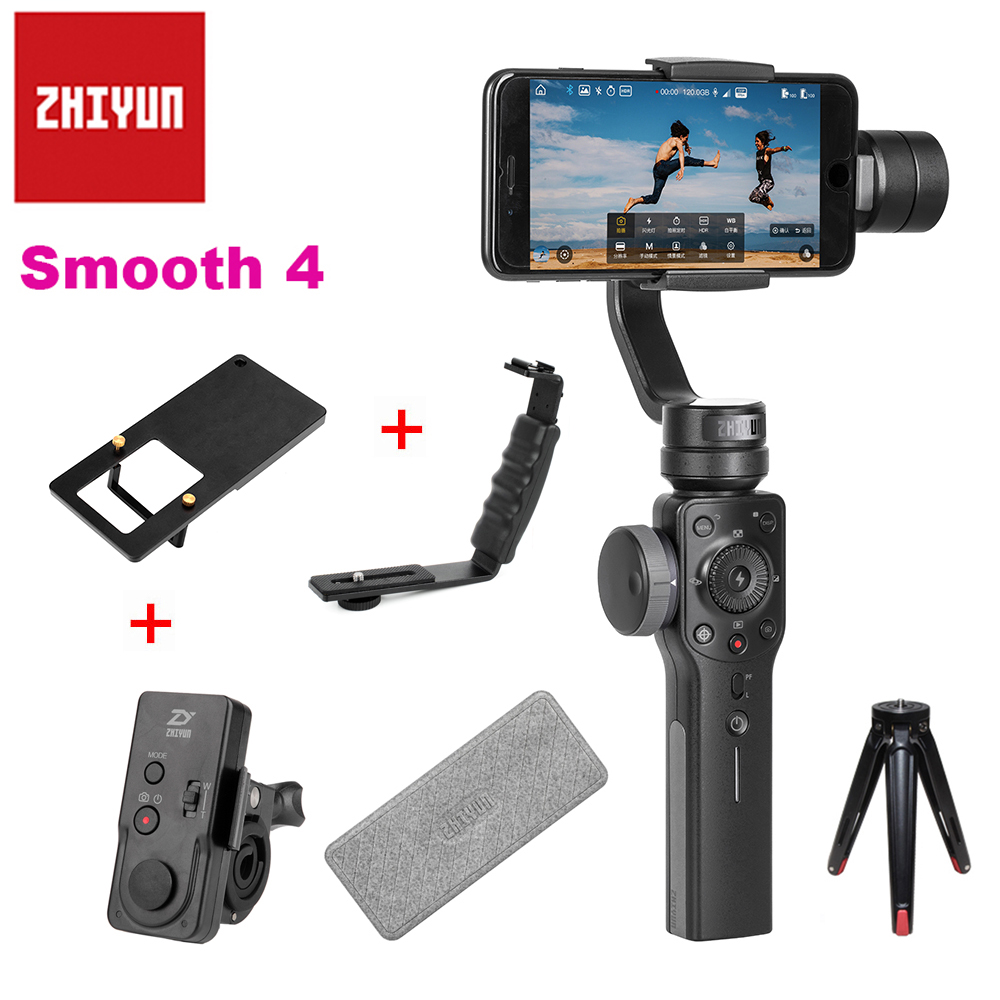 Zhiyun Smooth 4 Handheld 3 Axis Zoom Capability Handheld Gimbal Stabilizer for iPhone X 8P 8 Samsung S9 S8 Huawei P20 Xiaomi 6