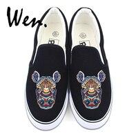Wen Men Casual Flat Canvas Shoes Original Design Rhinoceros Totem Shallow Mouth Platform Sneakers Slip on Espadrilles Plimsolls
