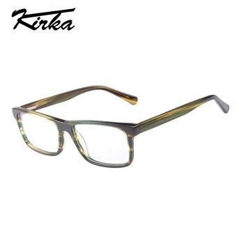 d1bcac18be Gafas de lectura con montura completa para hombre Kirka lentes  transparentes gafas para hombre gafas ópticas montura de acetato Vintage  gafas de miopía