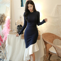 Spring Full Sleeve Bodycon Knitted Dress Women Slim Patchwork Trumpet O neck Irregular Knitwear Pullovers Dresses 2018