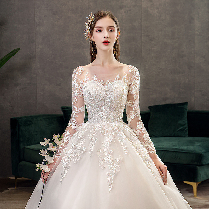 2019 New Vintage O Neck Full Sleeve Wedding Dress Illusion Simple Lace Embroidery Custom Made Bridal Gown Vestido De Noiva L