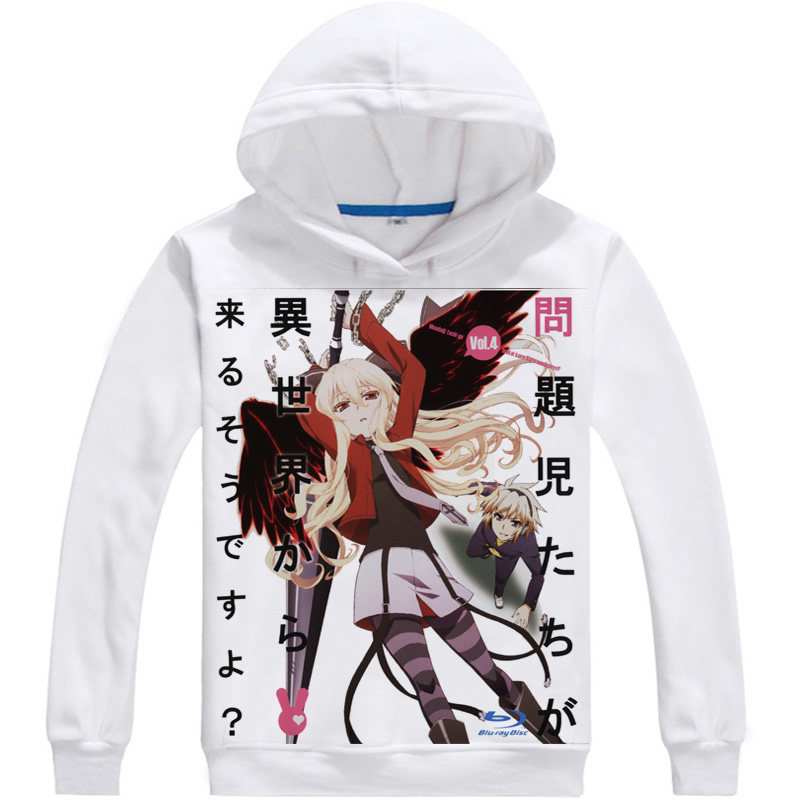 Problem Children Another World Hoodie Anime Mondaiji Black Rabbit Cosplay white hoodies Cute Sweatshirts Japanese Cartoon Fans