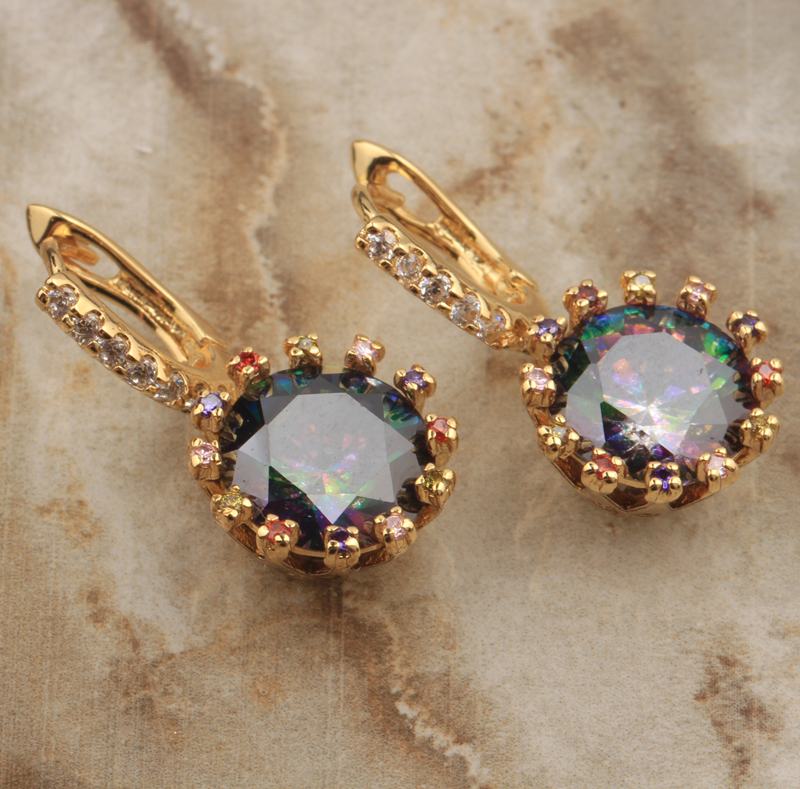 Charming Mystic Rainbow Limited Gems Red Garnet Cubic zirconia Gold Filled Fashion Jewelry Drop Dangle Earrings