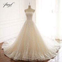 Fmogl Vestido De Noiva Sexy Strapless Lace Wedding Dresses 2019 Court Train Appliques Beaded A Line Vintage Bride Gowns