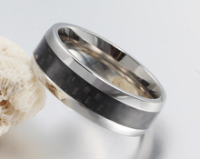 Stainless Steel with Carbon Fiber Inlay Ring 7mm